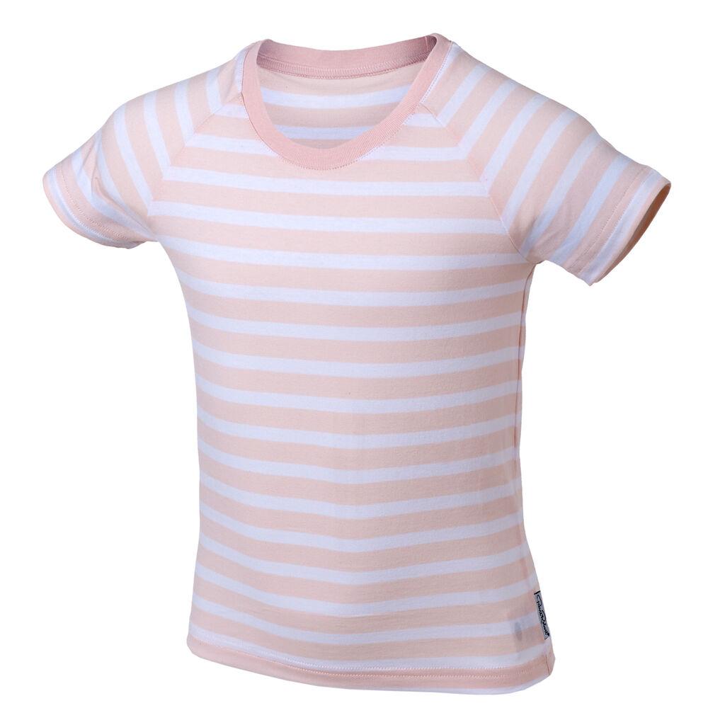 Luomupuuvilla T-paita 3-8 vuotiaille (GOTS), pink stripe, hi-res