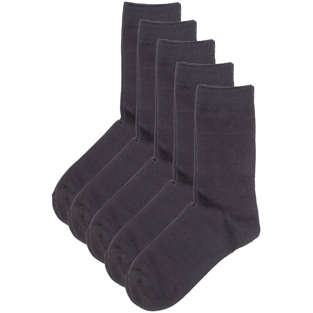 Basic luomupuuvillaiset sukat 5-pack, black, hi-res