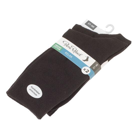 Sokker Økologisk Bomull X2 Svart, sort, hi-res