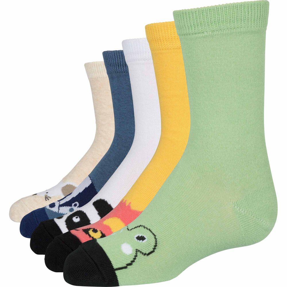 Basic luomupuuvillaiset sukat 5-pack, animal mix, hi-res
