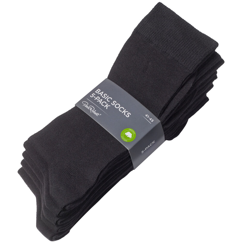 Basic luomupuuvillaiset sukat 5-pack, black, hi-res