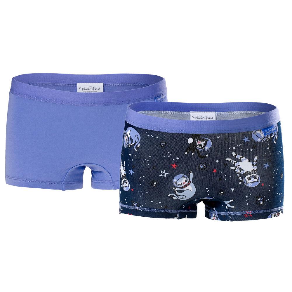 Luomupuuvillaiset tyttöjen bokserit (GOTS) Navy & Lilac 2-pack, navy pattern & lilac 2-17, hi-res