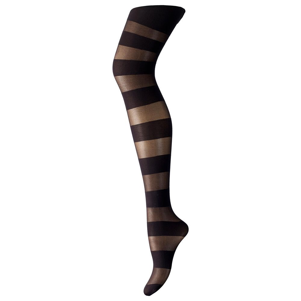 Statement sukkahousut 50 den, black horizontal stripe, hi-res