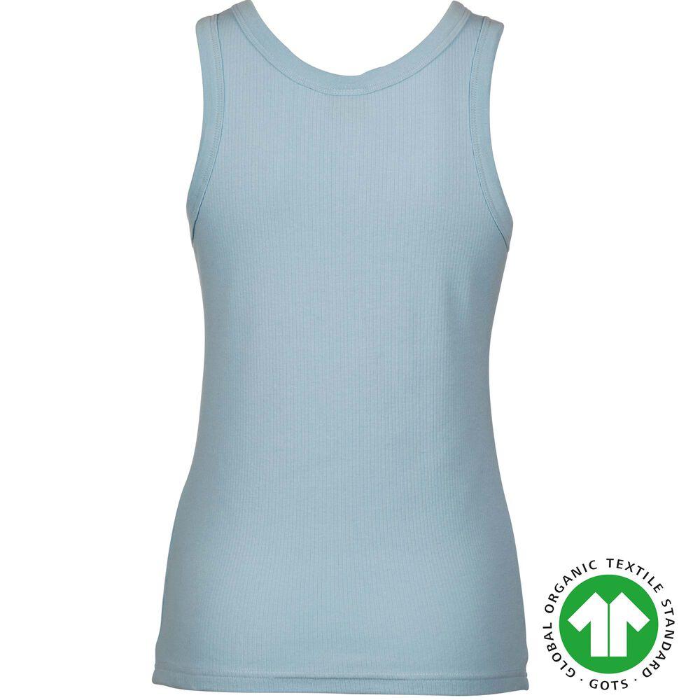 Ribbat linne i ekologisk bomull, sky blue, hi-res