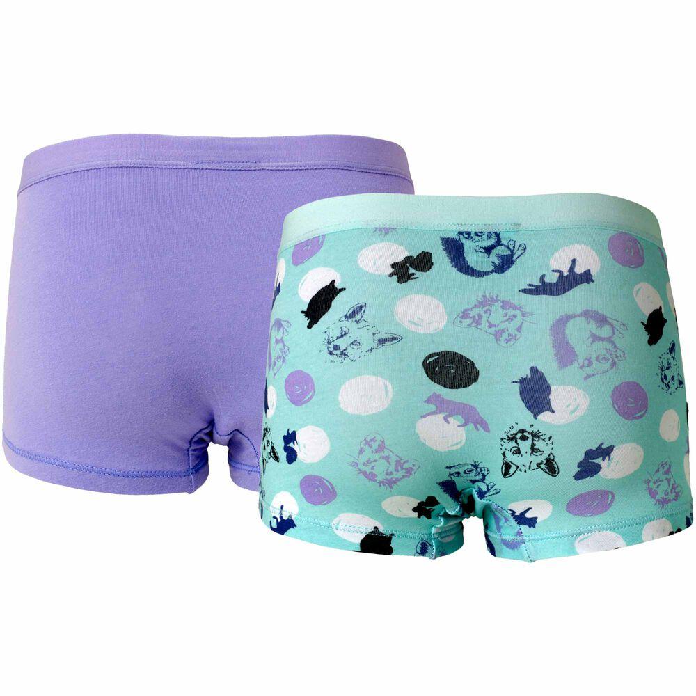 Tyttöjen luomupuuvillaiset bokserit, mint/lilac, hi-res
