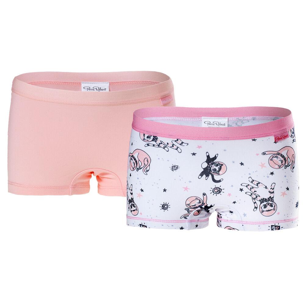 Luomupuuvillaiset tyttöjen bokserit (GOTS) White & Pink 2-pack, white pattern & pink 2-17, hi-res