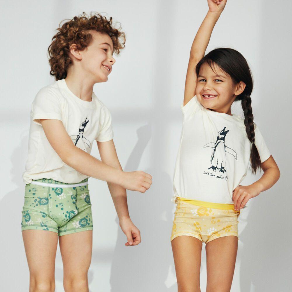 Tyttöjen luomupuuvillaiset bokserit, yellow, hi-res